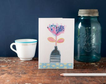 contemporary art card, flower in a stripey vase illustration, stylised simple still life greeting card for a friend, blank card