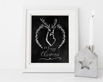 Farmhouse Christmas Decor, Chalkboard Christmas Print, Rustic Christmas Wall Art, Christmas Stag Decorations, Rustic Christmas Print