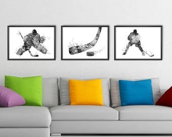 Hockey Prints Set of 3, Hockey Player Watercolor Black and White Print, Sport Wall Art, Sport Poster, Hockey Decor (A0521)