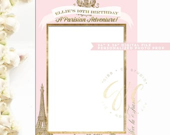 Passport to Paris Photo Prop Frame digital file - blush pink gold vintage - Shower prop - 5th, 8th, 9th, 10th, 11th birthday- Gibb Co D013