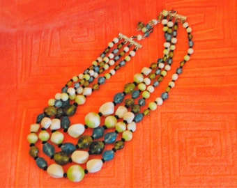 Vintage Multi-strand Shades of Green and White with irregular Shaped Beads Necklace