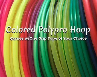 """Colored Polypro Hula Hoop, Your Choice of One Grip Tape, 5/8"""" & 3/4"""", Push Button Collapsible"""