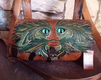"Leather bag ""spirit of the forest"" brown and green"