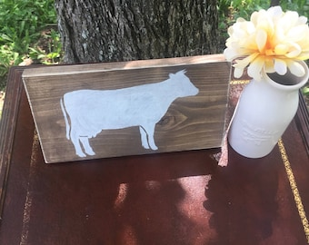 Rustic cow sign , country decor, great for kitchen