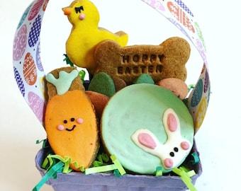 Hoppy Easter Dog Easter Basket/ Grain Free Dog Treats / Peanut Butter / Dog Gift / Spring