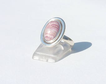 RHODOCHROSITE size 55 oval Cabochon ring Silver 925 stone natural stone lucky pink stone ring Crystal healing