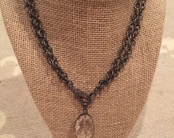 Large Pave diamond clasp on gun metal chain necklace long or short with crystal pendant