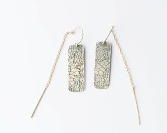Silver Lace Rectangle Threader Earrings