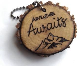Adventure Awaits Luggage Tag Wood Keychain