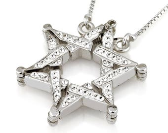 Star of David Transform Pendant With White Gemstones Sterling Silver