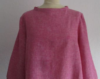 Wide linen/viscose blouse in mottled raspberry