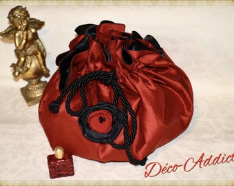 Lovely red silk and red flower and black pouch