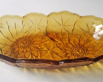 Pickle Dish in Lily Pons Amber by Indiana Glass