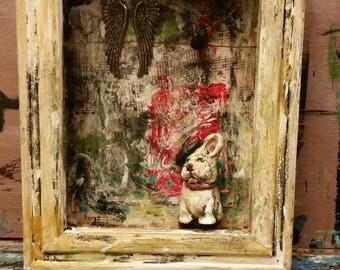 Shadow box.  Diorama.  French bulldog.  Angel. Whimsical. Doll. Clay. Sculpture