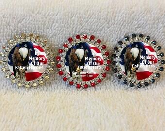Honor The Fallen, Swarovski Rhinestones Fallen Heroes Pins, Personalized In Memory of Our Fallen Hero, Custom Memorial Pin