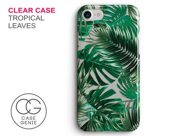 Tropical Leaves Clear Phone Case for iPhone 7 Plus, 7, 6, 6s Cell Phone Cover Clear and Frosted Transparent Palm Banana Leaf Jungle DES1