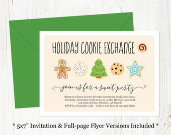 Holiday Cookie Exchange Invitation - Printable Christmas Cookie Swap Party Template, Instant Download Digital File Editable PDF, 5x7, Recipe