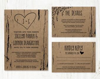 Wedding Invitation Template - Printable Rustic Tree / Wood Carved Hearts & Initials - Kraft Paper Set | Instant Download Digital File Suite