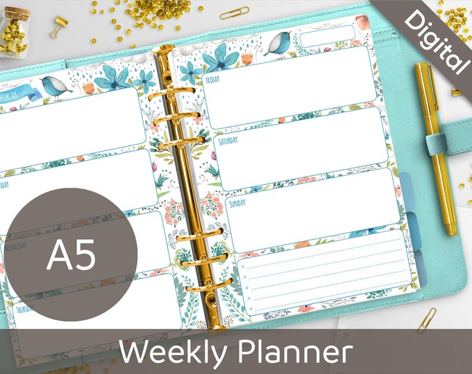 A5 Weekly Planner Printable, Filofax A5 printable refills, Undated Weekly Inserts, Arinne Blue Bird DIY Planner PDF Instant Download