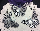 Black Glitter Metallic Silver Blue Ice Frosted Glass Beads DarlingArtByValeri Butterfly Scrapbooking Embellishment Mini Album Cards