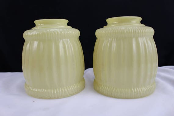 Antique 1900's Glass Sconce Lamp Shades Pale Yellow Lighting Shades