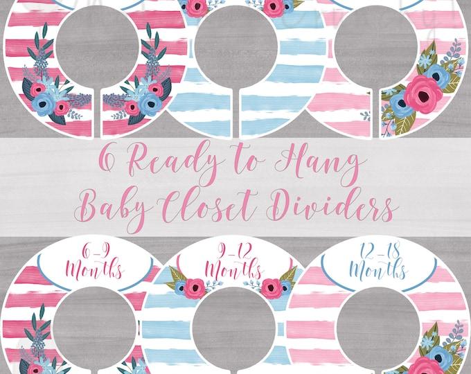 Pink Baby Closet Dividers - Baby Closet Dividers Girl - Nursery Closet Dividers - Baby Girl Closet Dividers