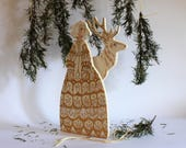 Fable of the Eastern Forest , art doll hand painted on two layers of plywood, white and gold dress