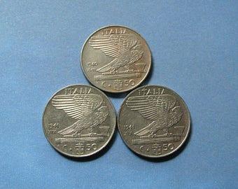 20% Off Sale 1940s Italian Coins, 50 Centesimo Coin, Coins from Italy, Italian History, Italian Collectible, Old Coin Set
