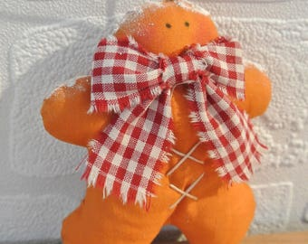 "Christmas ornament ""Gingerbread"" in rust orange cotton and gingham bow"