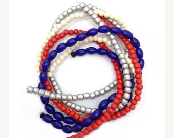 SALE 15% OFF Beaded mix blue red silver, 4 strands, 5-9mm, mix beads, wood beads, wooden beads, oval, Pukalite