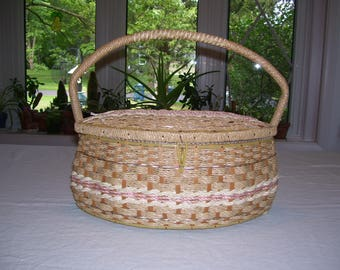 Wicker Sewing Basket Large CLEAN Vintage