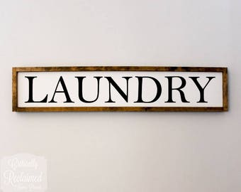 "Large Wood Sign • 37"" x 7"" • LAUNDRY • Home Decor • Farmhouse Decor • Laundry Room Decor"