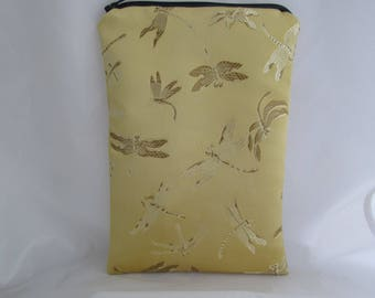 Brocade Tarot Card Bag Gold and Brown Dragonfly with Navy Blue Satin Lining and Zipper Dice Makeup Pouch Fancy