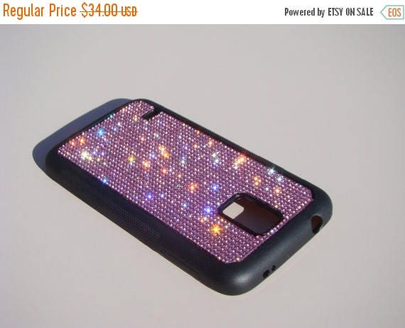 Sale Galaxy S5 Pink Diamond Rhinestone Crystals on Black Rubber Case. Velvet/Silk Pouch Bag Included, Genuine Rangsee Crystal Cases.