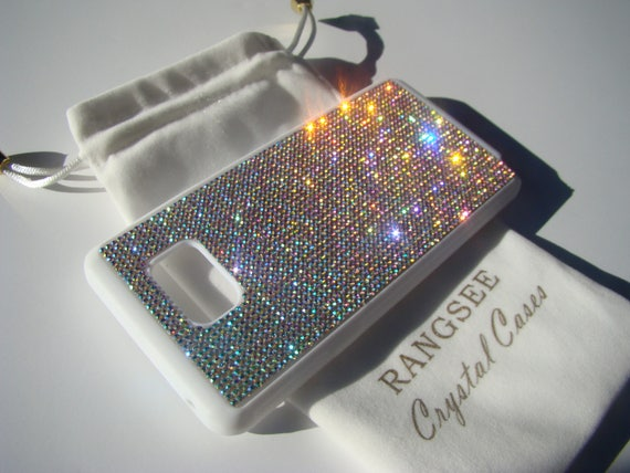 Sale Galaxy Note 5 Crystal AB Crystals on White Rubber Case. Velvet/Silk Pouch Bag Included, Genuine Rangsee Crystal Cases.