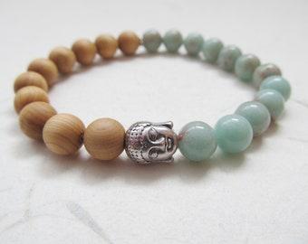 Buddha bracelet, yoga bracelet, jasper bracelet, wooden bracelet