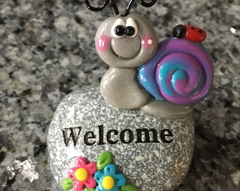 Polymer Clay Garden Snail on a Welcome Rock