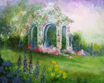 The romantic English - English garden - acrylic on canvas 61 x 45