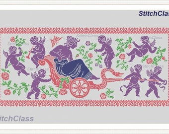 The goddess and angels with flowers on the chariot Cross Stitch Pattern PDF monochrome Empire style panel mythical characters cross-stitch