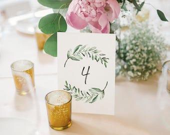 Wedding Table Numbers, Printable Table Numbers, Greenery Table Numbers, Table Numbers for Wedding, PDF Instant Download #BPB330_7