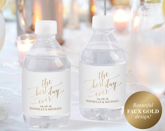 Faux Gold Wedding Water Bottle Label Water Bottle Labels