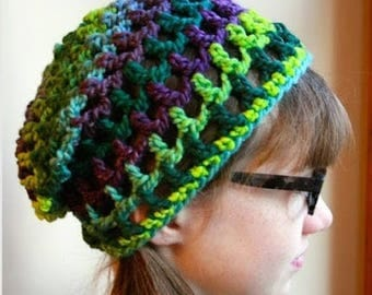 Stretchy Purples & Greens Mesh Beanie--child size