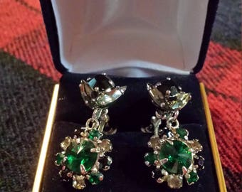 Vintage - Brilliant Green, Clear and Black silver set earrings