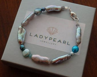 Pearl Bracelet, Contemporary Pearls, Silver Pearls, Silver Pearl Bracelet, Blue Pearls