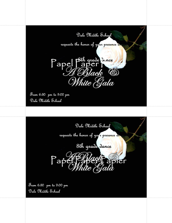 A Black White Gala School DancePromHomecoming InvitationCard