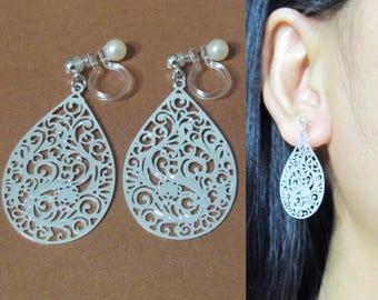 Teardrop Clip on earrings |30F| Invisible clip on Silver Leaf Dangle Clip On Earring Filigree Bridal Clip Earrings Teardrop Wedding Clip-ons