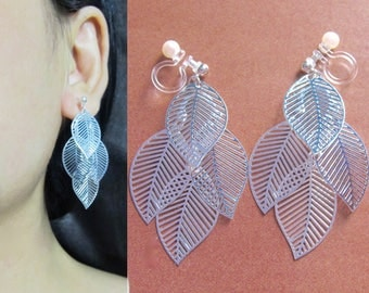 Silver Leaf Clip On Earrings |30A| Long Tiered Layering Leaves Dangle Clip Earrings Statement Clip-ons Fall Autumn Theme Clip On Earring