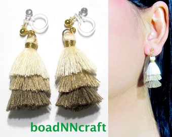 Invisible Clip-ons, Mini Tiered Colorblock Cream Brown Fringe Tassel Clip On Earrings |39C| Dangle Long Clip Earrings, Non Pierced Earrings