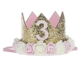 2nd 3rd Birthday Party Glitter Floral Crowns