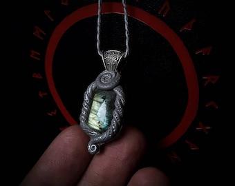 Elven Crystal Pendant with Labradorite / Crystal Pendant / Crystal Jewelry / Handmade / Unique / Pagan / Heathen / Amulet / Nordic / Neck